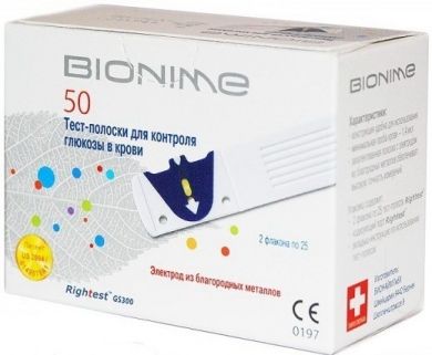 Тест-полоски для глюкометра Bionime Rightest GS300 (50 шт.) (фото 1)