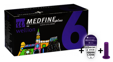 Купить Голки для інсулінових шприц-ручок Wellion MEDFINE plus 0.25 mm (31G) x 6 мм, 100 шт в Киеве и Украине